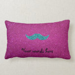 Turquoise glitter mustache throw pillow