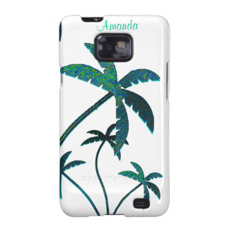 Turquoise Glitter Palm Trees on white Galaxy S2 Covers