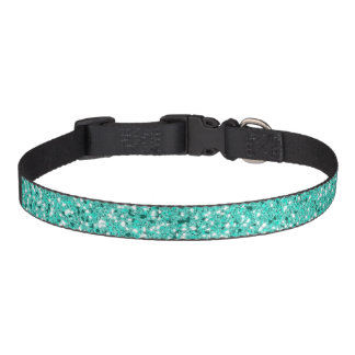 Turquoise Glitter Pattern Look-like Pet Collar