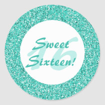 Turquoise Glitter Pattern Look-like Sweet Sixteen Classic Round Sticker