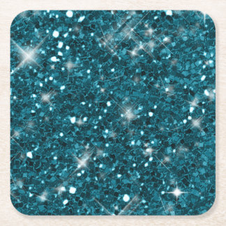 Turquoise Glitter Pattern Square Paper Coaster