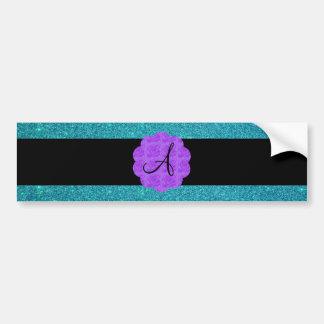 Turquoise glitter purple roses monogram bumper sticker