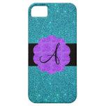 Turquoise glitter purple roses monogram iPhone 5 covers