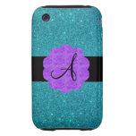 Turquoise glitter purple roses monogram iPhone 3 tough cases