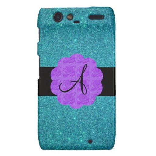 Turquoise glitter purple roses monogram droid RAZR cover