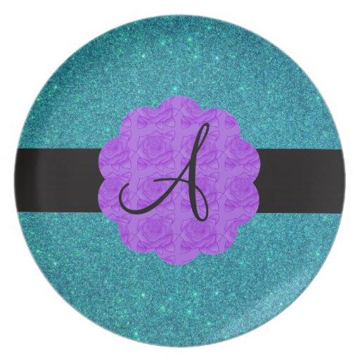 Turquoise glitter purple roses monogram party plates
