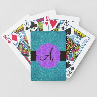 Turquoise glitter purple roses monogram card deck