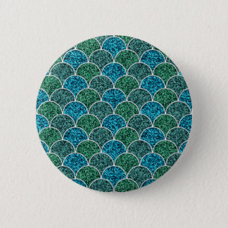Turquoise Glitter Scales Pattern Button