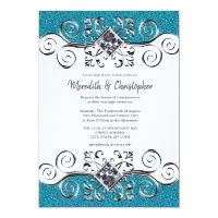 Turquoise Glitter Silver Bling Wedding Invitation
