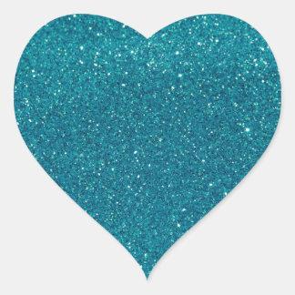 Turquoise Glitter Sparkles Heart Sticker