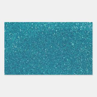 Turquoise Glitter Sparkles Rectangular Sticker
