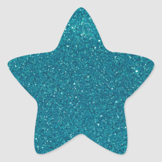 Turquoise Glitter Sparkles Star Sticker