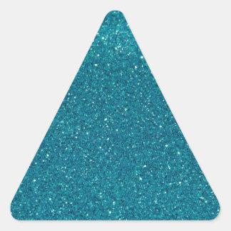 Turquoise Glitter Sparkles Triangle Sticker