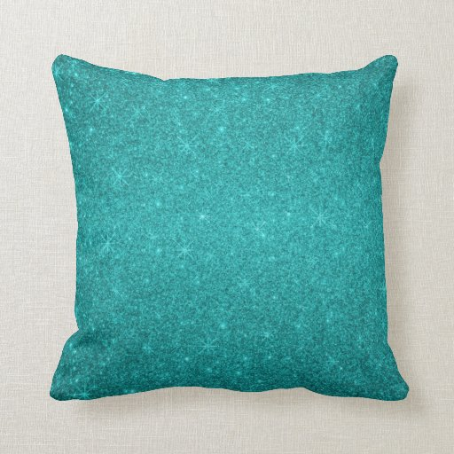 Turquoise glitter stars throw pillow zazzle for Turquoise couch pillows