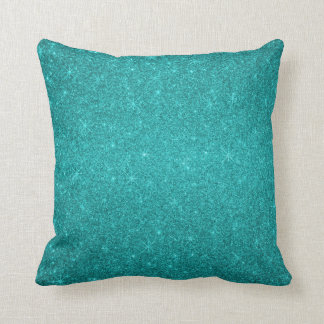 Turquoise glitter stars throw pillow