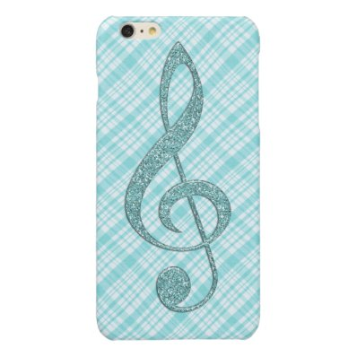 Turquoise Glitter Treble Clef on Turquoise Plaid Glossy iPhone 6 Plus Case