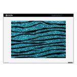 "Turquoise glitter zebra stripes 15"" laptop skins"