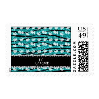 Turquoise glitter zebra stripes birthday balloon postage