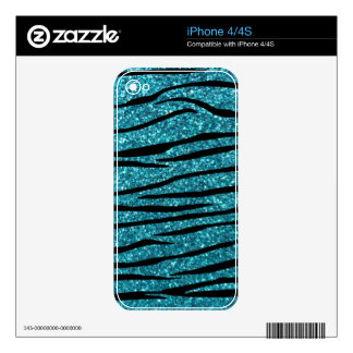 Turquoise glitter zebra stripes decals for iPhone 4S