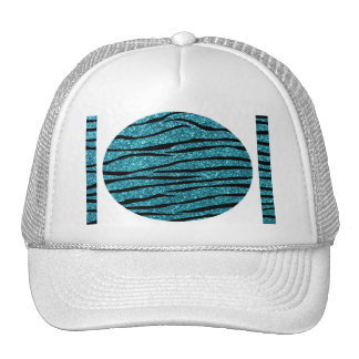 Turquoise glitter zebra stripes trucker hats