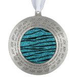 Turquoise glitter zebra stripes round pewter ornament