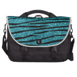 Turquoise glitter zebra stripes laptop bags