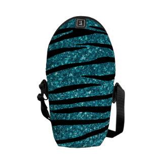 Turquoise glitter zebra stripes messenger bag