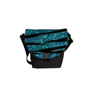 Turquoise glitter zebra stripes messenger bags