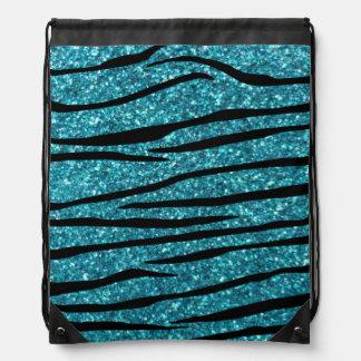 Turquoise glitter zebra stripes cinch bag