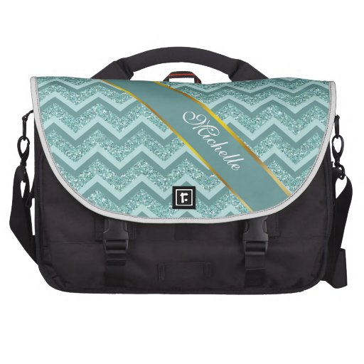 Turquoise Glitter ZigZag Pattern Bag For Laptop