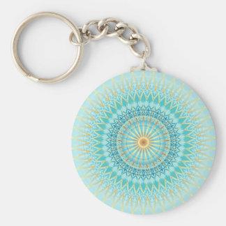 Turquoise Gold Boho Mandala Keychain