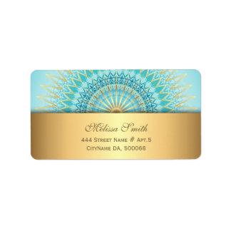 Turquoise Gold Boho Mandala Label