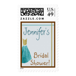 Turquoise & Gold Bridal Shower Customizable Stamp