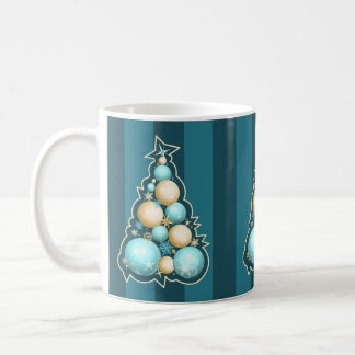 Turquoise & Gold Bubbles Christmas Tree Classic White Coffee Mug