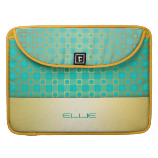 turquoise & gold checkered pattern sleeve for MacBooks