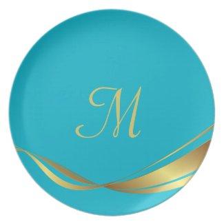 Turquoise Gold Custom Monogram Plate
