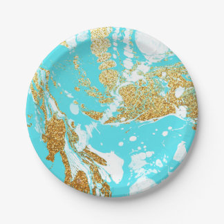 Turquoise gold faux glitter modern marble pattern paper plate