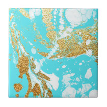 Turquoise gold faux glitter modern marble pattern tile