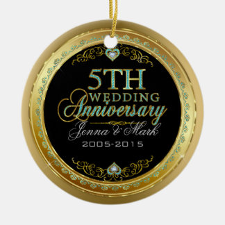 Turquoise & Gold Frame & 5th Wedding Anniversary Ceramic Ornament