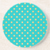 Turquoise Gold Glitter Polka Dots Pattern Sandstone Coaster
