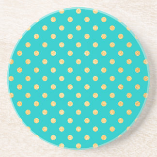 Turquoise Gold Glitter Polka Dots Pattern Sandstone Coaster