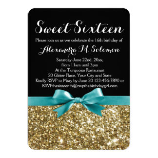 Turquoise Gold Glitter Sweet 16 Party Invitation