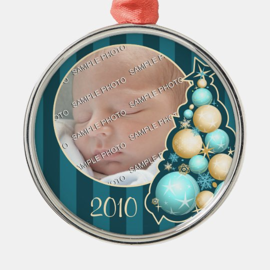 Turquoise & Gold Globes Tree First Christmas Photo Metal Ornament