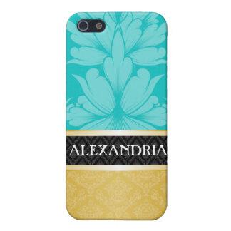 Turquoise & Gold Personalized Damask iPhone 4 Case