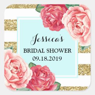 Turquoise Gold Pink Floral Bridal Shower Favor Tag