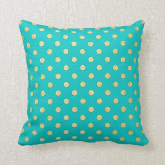 Turquoise Gold Polka Dots Glitter Pattern Decor Throw Pillow