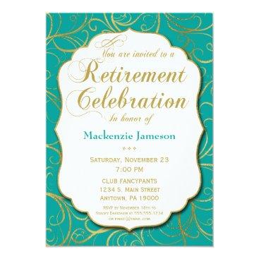 Lawyer Themed Turquoise Gold Swirl Retirement Invitation Elegant