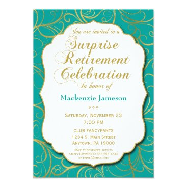 Lawyer Themed Turquoise Gold Swirl Surprise Retirement Invite