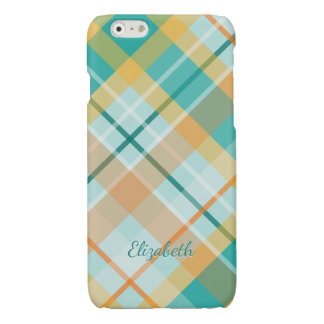 turquoise gold teal peach colorful summer plaid glossy iPhone 6 case