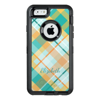 turquoise gold teal peach summertime plaid OtterBox defender iPhone case